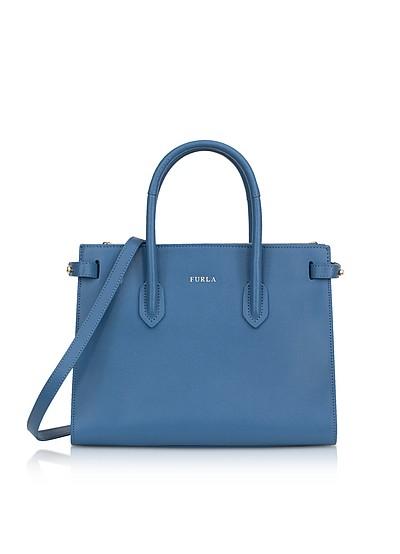 Genziana Blue Leather E/W Pin Small Tote Bag - Furla