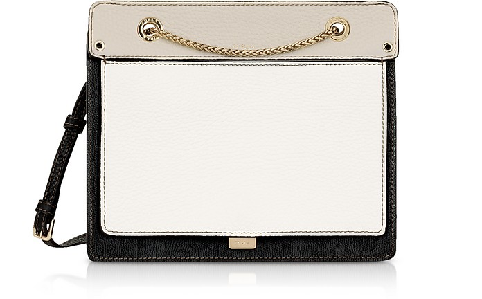 Like Small Color Block Leather Crossbody Bag w/Chain Strap - Furla