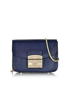 Metropolis Mini Navy Blue Leather Crossbody Bag