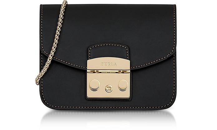Black Smooth Leather Metropolis Mini Crossbody Bag - Furla