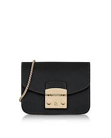 Black Smooth Leather Metropolis Mini Crossbody Bag - Furla