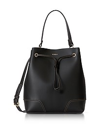 Stacy M Black Smooth Leather Bucket Bag - Furla