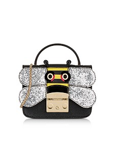 Onyx and Silver Metropolis Doodle Mini Crossbody Bag - Furla