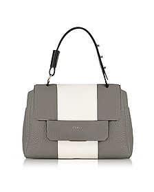 Argilla, Petalo and Onyx Leather Capriccio Medium Top Handle Bag - Furla
