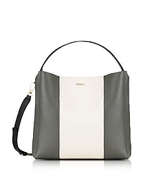Argilla, Petalo and Onyx Leather Capriccio Medium Hobo Bag - Furla