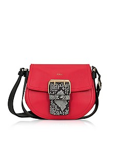 Ruby, Onyx and Argilla Python Print Leather Hashtag Small Crossbody Bag - Furla