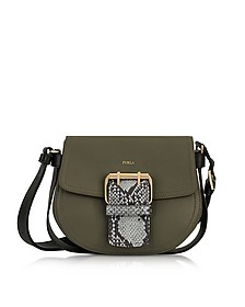Salvia, Onyx and Argilla Python Print Leather Hashtag Small Crossbody Bag - Furla