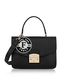 Onyx and Petalo Leather Metropolis Post Small Top Handle Bag - Furla