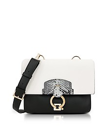 Onyx, Petalo and Argilla Python Print Leather Scoop Small Shoulder Bag - Furla
