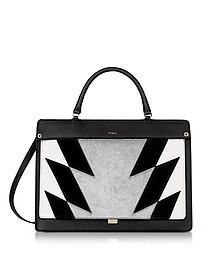 Onyx Leather and Silver Haircalf Like Medium Top Handle Bag - Furla