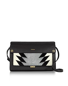 Onyx Leather and Silver Haircalf Like Mini Crossbody Bag - Furla