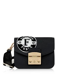 Onyx and Petalo Leather Metropolis Post Mini Crossbody Bag - Furla