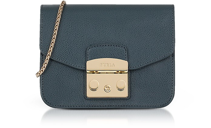 Lizard Printed Leather Metropolis Mini Crossbody Bag - Furla