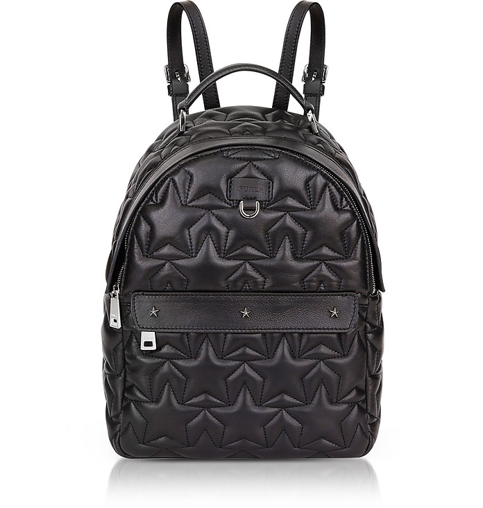 910487596799 Black Star Quilted Leather Favola Small Backpack