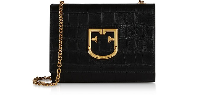 Viva Mini Croco Embossed Leather Clutch - Furla