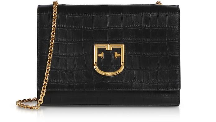 Croco Embossed Leather Viva S Pochette Clutch - Furla