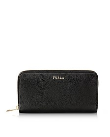 Onyx Babylon XL Zip Around Pebbled Leather Wallet - Furla