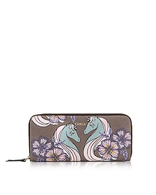 Unicorn and Butterfly Gioia XL Brieftasche mit Rundumreißverschluss aus Saffianleder - Furla