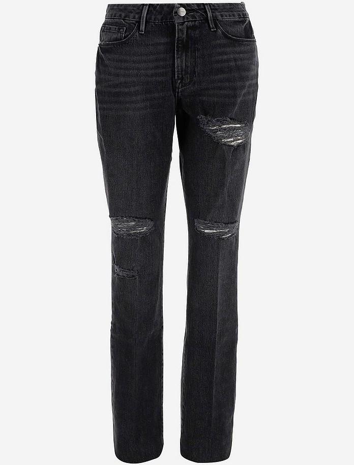 Black Cotton Denim Women's Jeans - Frame