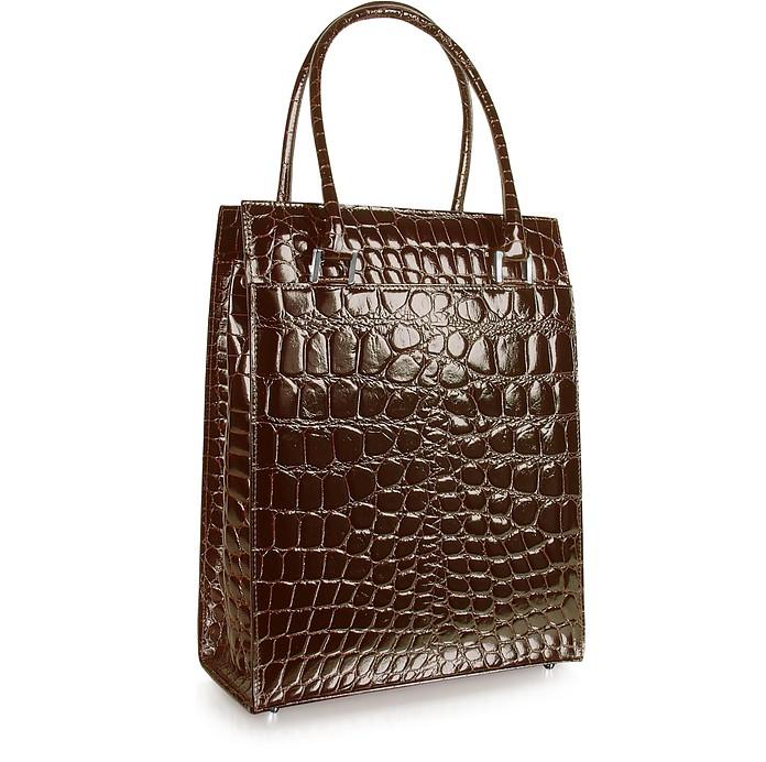 Spiga Wib - Dark Brown Croco Stamped Business Tote Bag - Giorgio Fedon 1919
