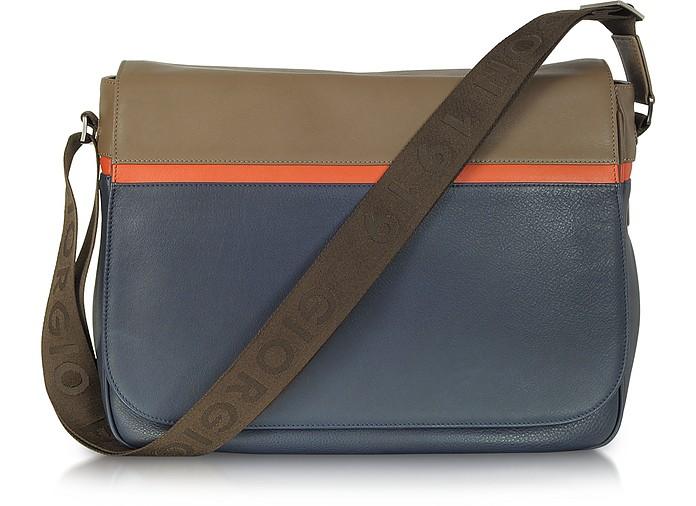 Life Color Block Leather Messenger Bag - Giorgio Fedon 1919