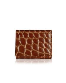 Spiga - Women's Brown Croc Stamped Calfskin Small Wallet - Giorgio Fedon 1919