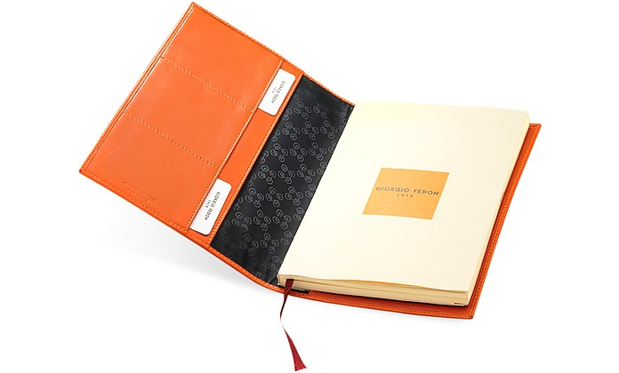 Classica - Large Orange Calfskin Weekly Diary w/Address Index - Giorgio Fedon 1919