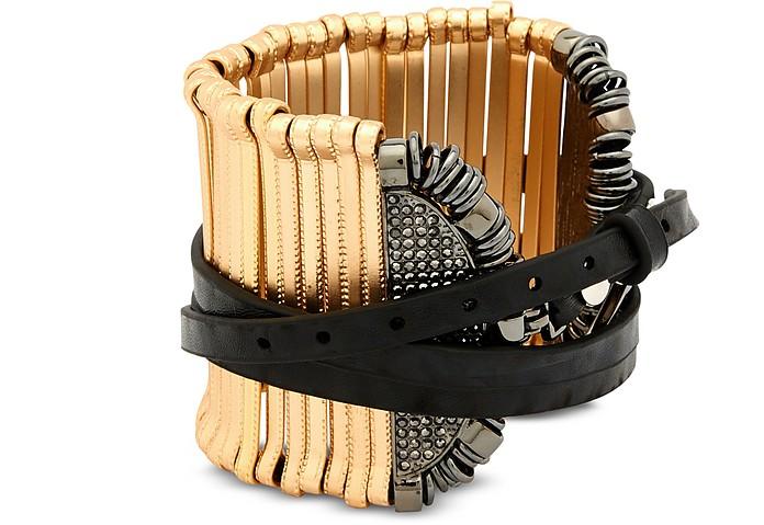Stick Leather and Metal Bangle - Federica Tosi