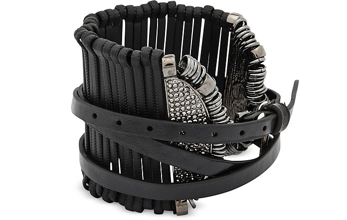 Stick Leather and Metal Bangle - Federica Tosi