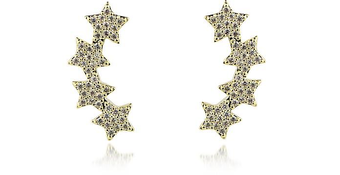 FEDERICA TOSI Lobo Multi Stars Earrings in Gold Plated Cristal Strass