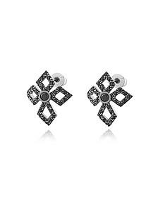 Sterling Silver Lobo Cross Earrings w/Crystals - Federica Tosi
