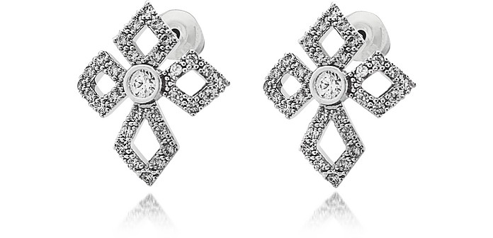 Sterling Silver Lobo Cross Earrings w/Crystals - Federica Tosi