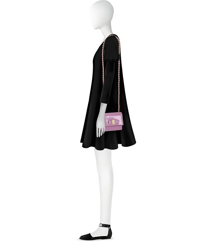 10cb685f967 Salvatore Ferragamo Mini Vara Ginny Lila Patent Flap Bag at FORZIERI ...
