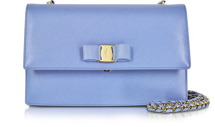 735348506d Medium Ginny Fleur Bleu Saffiano Leather Shoulder Bag - Salvatore Ferragamo