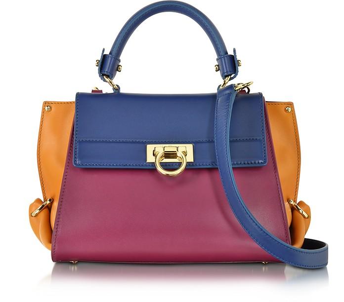 Small Sofia Color Block Leather Shoulder Bag - Salvatore Ferragamo