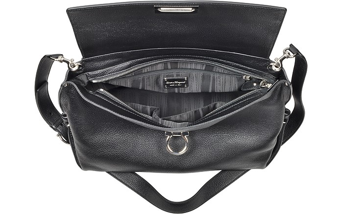 Salvatore Ferragamo Large Sofia Black Grained Leather Satchel Bag at ... fcf9bdc6c0b7d