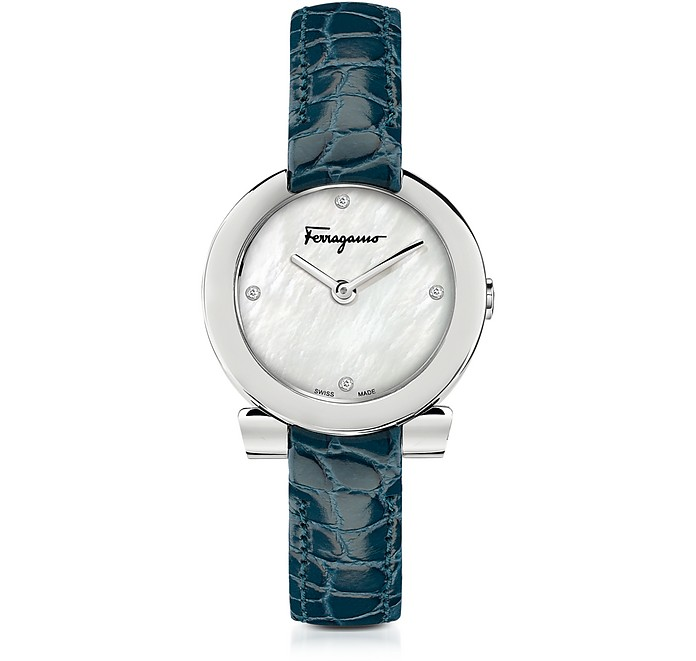 Gancino Stainless Steel and Diamonds Women's Watch w/Blue Croco Embossed Strap - Salvatore Ferragamo