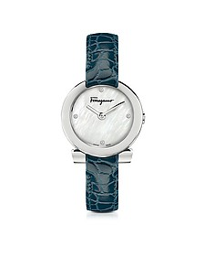 Stainless Steel White Mother of Pearl and Diamonds Women's Watch w/Blue Croco Embossed Strap - Salvatore Ferragamo