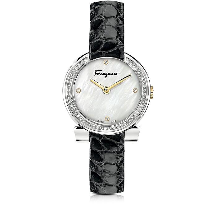 Gancino Stainless Steel and Diamonds Women's Watch w/Black Croco Embossed Strap - Salvatore Ferragamo