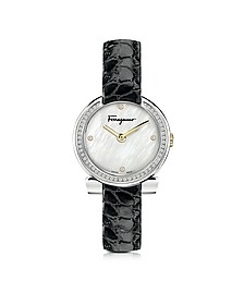 Gancino Stainless Steel and Diamonds Women's Watch w/Black Croco Embossed Strap - Salvatore Ferragamo