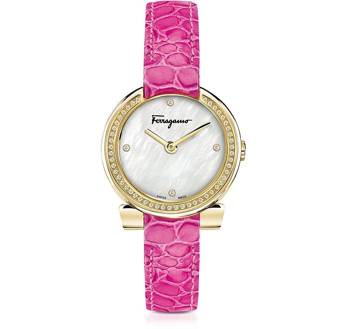 Gancino Gold IP Stainless Steel and Diamonds Women's Watch w/Pink Croco Embossed Strap - Salvatore Ferragamo