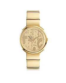 Logomania Gold IP Sunray Stainless Steel Women's Watch w/Ferragamo Lettering Dial - Salvatore Ferragamo