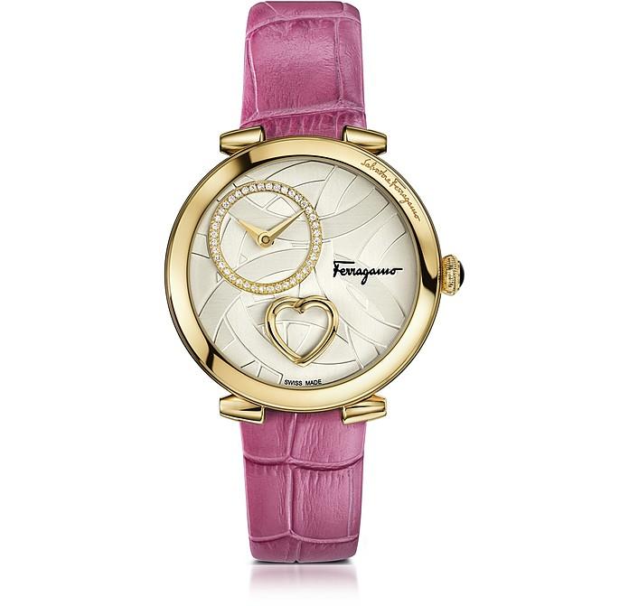 Cuore Ferragamo Gold IP Diamonds Women's Watch w/Pink Croco Embossed Strap - Salvatore Ferragamo