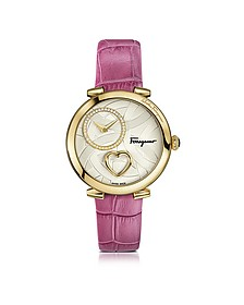 Cuore Ferragamo Gold IP Stainless Steel Diamonds and Beating Heart Women's Watch w/Pink Croco Embossed Strap - Salvatore Ferragamo