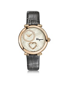 Cuore Ferragamo Rose Gold IP Diamonds Women's Watch w/Grey Croco Embossed Strap - Salvatore Ferragamo