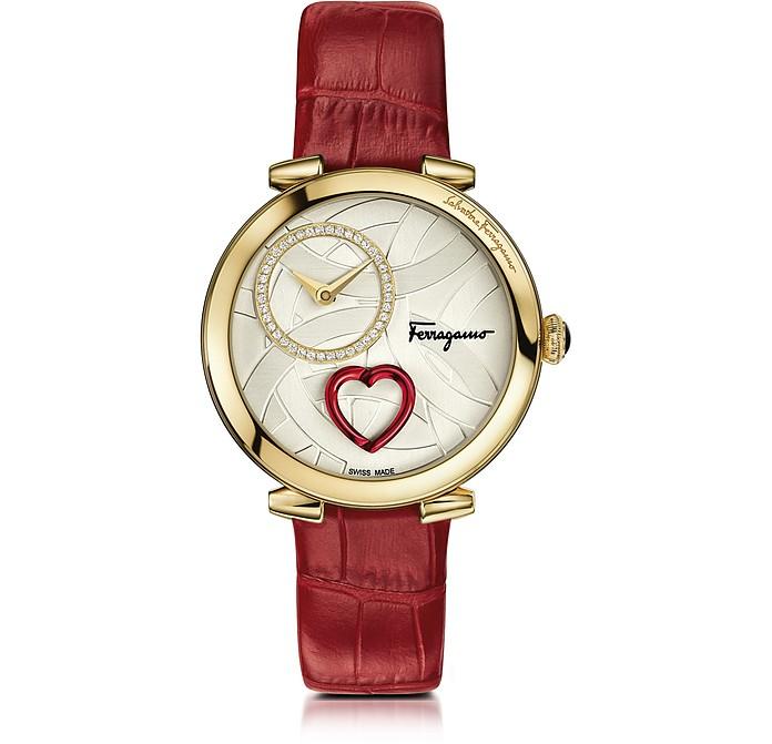 Cuore Ferragamo Gold IP Diamonds Women's Watch w/Red Croco Embossed Strap - Salvatore Ferragamo