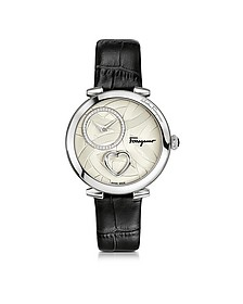Cuore Ferragamo Stainless Steel Diamonds and Beating Heart Women's Watch w/Black Croco Embossed Strap - Salvatore Ferragamo