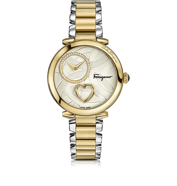 Cuore Ferragamo Stainless Steel and Gold IP Diamonds and Beating Heart Women's Bracelet Watch - Salvatore Ferragamo