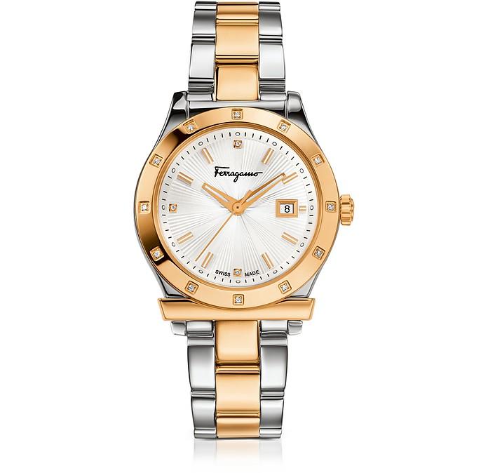 Ferragamo 1898 Stainless Steel and Gold IP Women's Bracelet Watch w/Diamonds - Salvatore Ferragamo
