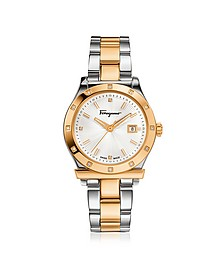 Ferragamo 1898 Stainless Steel and Gold IP Women's Bracelet Watch w/Diamonds - Salvatore Ferragamo